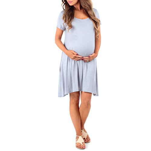 Women's Draped Maternity Dress with Criss Cross Back by Mother Bee - Made in USA Silver