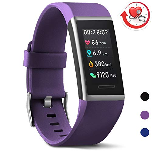 MorePro X-Core Fitness Tracker HR, Waterproof Color Screen Activity Tracker with Heart Rate Blood Pressure Monitor, Smart Wristband Sleep Pedometer Watch with Step Calories Counter for Women and Men (Sync Band Fitness)