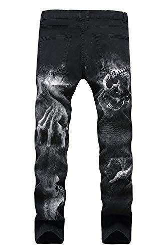 Tessuto Strappati Jeans Slim Pantaloni Casual Stampa Skinny In Stila Con Retro Da Fantasia Denim Uomo Fit pqqdT8