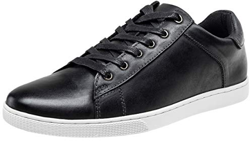 Leather Casual Shoes Men (JOUSEN Men's Leather Fashion Sneakers Business Casual Shoes for Men (9.5,Black))
