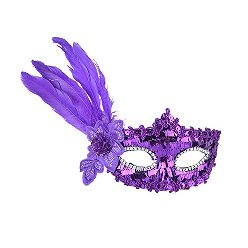 Prom Party Mask, Birthday Party Props Feather Long Striped Sequin Embroidered Mask, Masquerade Party Masks Womens Masks (Purple) ()