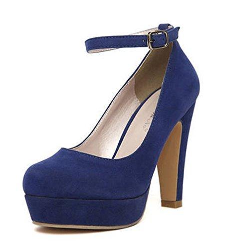 Easemax Womens Trendy Bruiloft Ronde Neus Gesp Platform Dikke Hoge Hak Pumps Schoenen Blauw