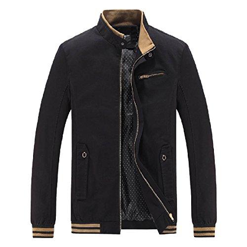 Cotton Plus Mandarin Mogogo Zipper Collar Washed Jacket Men's Size Coats Black ZIx65Rq