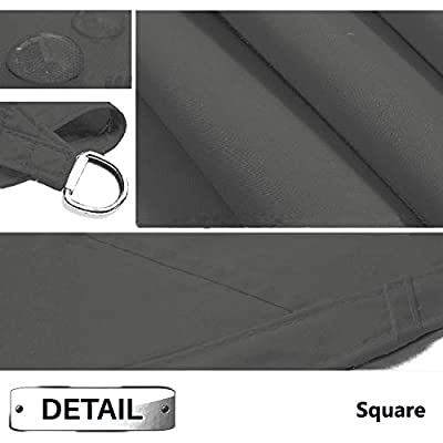 Sunnykud 10'x10' Square Dark Gray Waterproof Sun Shade Sail Canopy Perfect for Outdoor Garden Patio Permeable UV Block Fabric Up to 90% UV Protection : Garden & Outdoor