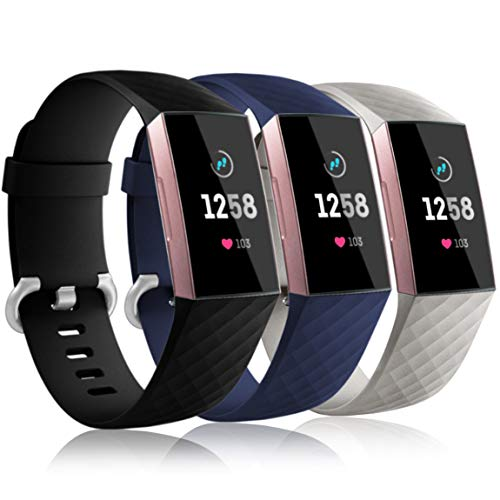Maledan Bands Compatible with Fitbit Charge 3 and Charge 3 SE, Small, Blue/Slate Gray/Black