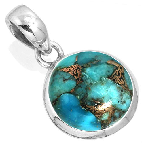 Copper Blue Turquoise Pendant 925 Sterling Silver Handmade Jewelry