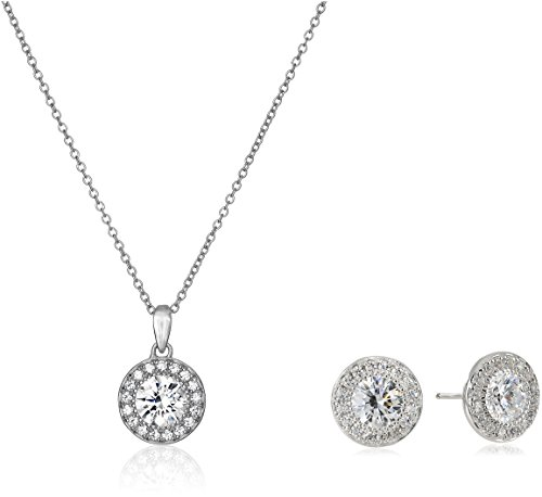 Platinum Plated Sterling Silver Swarovski Zirconia Round-Cut Halo Pendant Necklace and Stud Earrings Jewelry Set ()