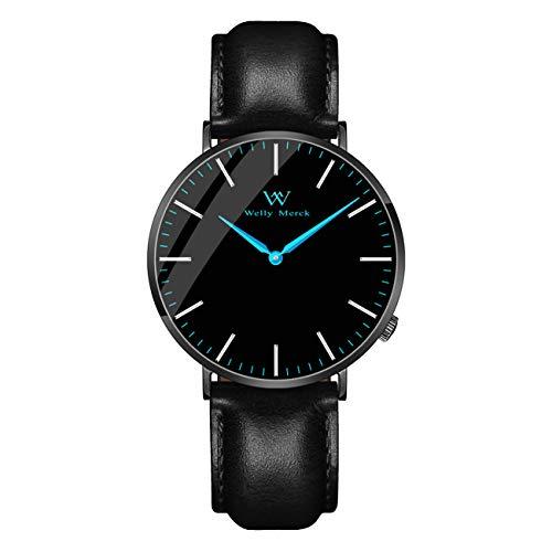 Welly Merck Men's Luxury Watch Minimalist Swiss Movement Sapphire Crystal Analog Wrist Watch 20mm Italy Genuine Leather Interchangeable Black Strap,5 ATM Water Resistant (Blue)