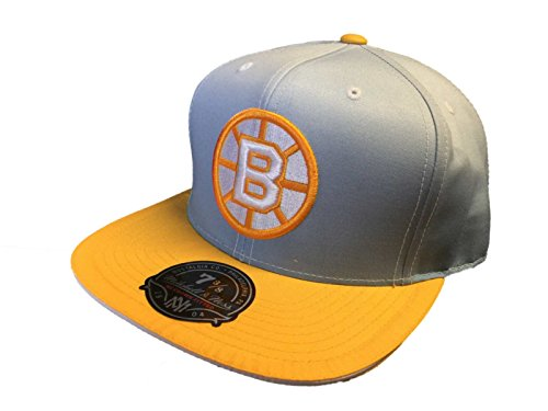 Boston Bruins Mitchell & Ness Flat Bill High Crown Gray Fitted Hat Cap (7 3/8)