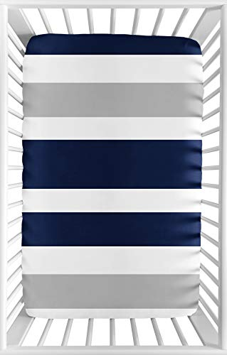Sweet JoJo Designs Navy Blue and Grey Baby Boy Fitted Mini Portable Crib Sheet for Stripe Collection - for Mini Crib or Pack and Play ONLY