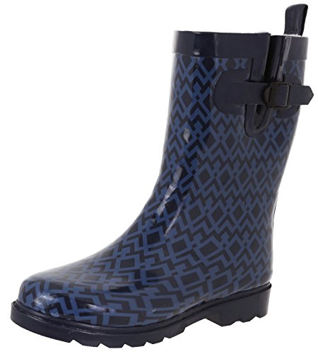 Printed Plaid Ladies Combo Boots Calf Collegiate New York Capelli Mid Navy Rain ZgpxXp