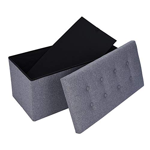 Iusun Household Storage Folding Stool Linen Ottoman Sofa Multifunctional Bar Sofa Footstool Living Room Clothing Store Shoes Bench Storage Bag Square Locker Toy Storage Box - Shipping From USA (Gray) (Shelving Bin Unit)