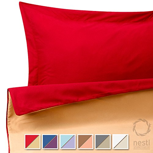 Duvet Cover Set For Comforter King Reversible Red And