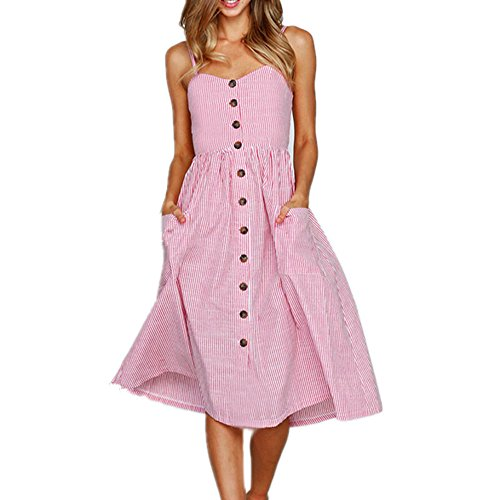 (Women's Dresses,Summer Floral Bohemian Spaghetti Strap Button Down Swing Midi Dress with Pockets Sexy High Waist Sundress (L, Pink08))