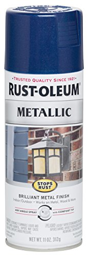 Rust-Oleum 7251830 Stops Rust Metallic Spray Paint, 11 oz, Cobalt - Paint Metallic Blue