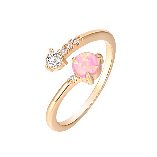 PAVOI 14K Rose Gold Plated Wrap Cubic Zirconia and Created White Opal Ring Stackable Ring