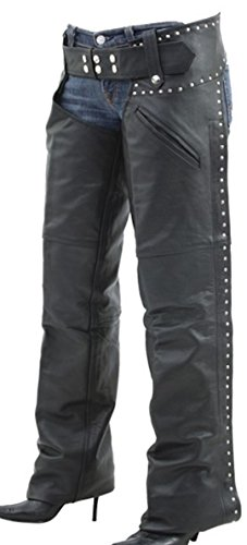 Cowhide Motorcycle Chaps with Studded Sides