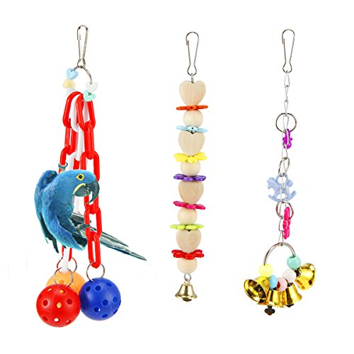 MEWTOGO 3 PCS Colorful Bird Bell Toys for Small and Medium Parrots Like Parakeets,Cockatiels,Conures and Amazon Parrots from MEWTOGO