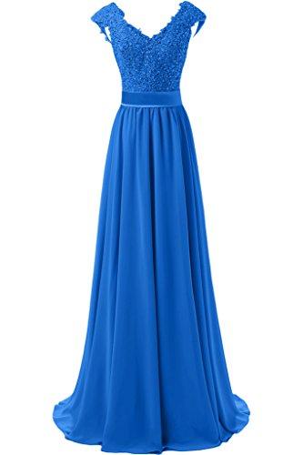 Festlich Abschlussballkleider La Spitze Braut Abendkleider Blau mia Dunkel Damen Cocktailkleider A Linie Chiffon Rock 00BPqA