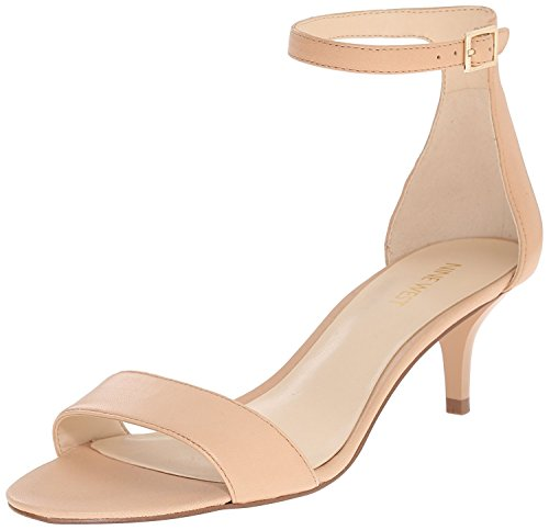 Nine West Women's Leisa Leather Heeled Dress Sandal, Natural, 38 B(M) EU/6 B(M) UK