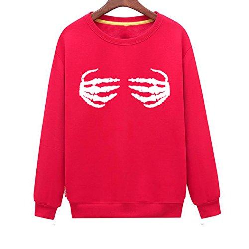 Century Hand Signed - CINFUN Women's Skeleton Hand Fashion Print Casual Loose Sweatshirt (Red Large)