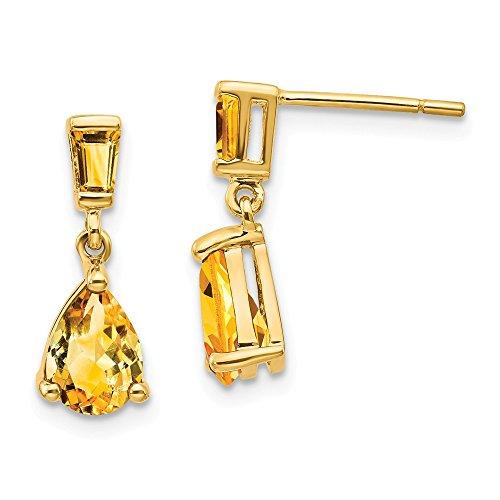 (14k Yellow Gold Citrine Drop Dangle Chandelier Post Stud Earrings Fine Jewelry Gifts For Women For Her)