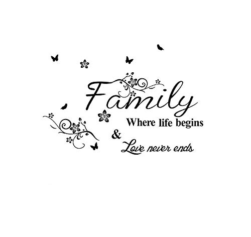Family Where Life Begins Love Never Ends Wall Stickers Home Decal Removable Art DIY Sticker