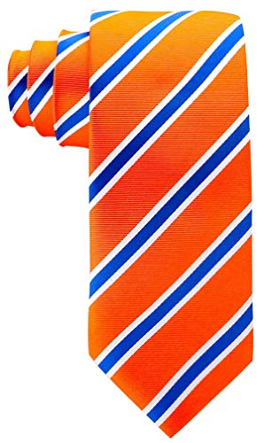 Striped Ties for Men - Woven Necktie - Orange w/Blue