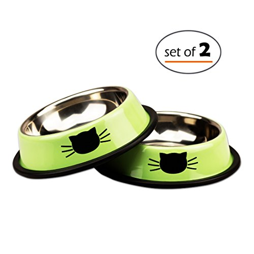 Petfamily Stainless Steel Cat Bowl, Heavy Duty Neon Green Painted Dog or Cat Dish with Non-Skid Rubber Bottom for Small Dogs & Cats, Pet Food & Water Bowl 8 Ounce (Set of (Green Painted Base)