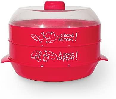 Para cocinar al vapor microondas 2 pisos 2.4L rojo: Amazon ...