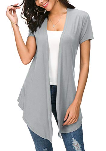 Womens Solid Open Front Short Sleeve Cardigan (L, Light Grey) (Knit Slimming Pant Jersey)