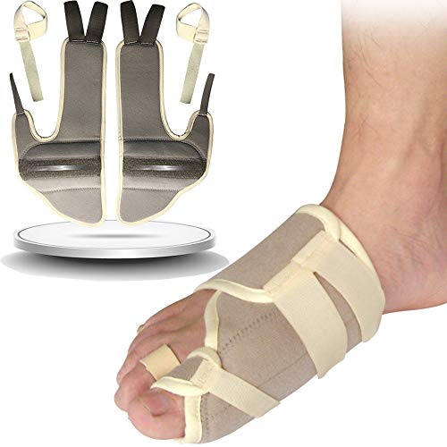 1 Pair Hallux Valgus Night Splint,Bunion Straightener Corrector Big Toe Splint Brace,Bunion Relief Protector with Steel Stabilizer Bar,Addintional Loop Strap for Other Hammer Toe,Mallet Toe,Claw Toe by igoeshopping