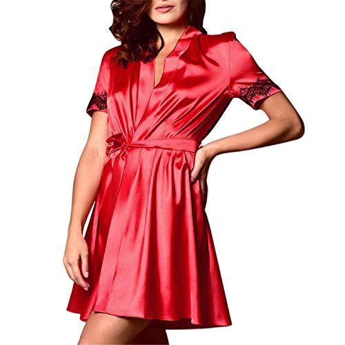- T T Store Sexy Bath Kimono Robe Sleepwear Bridesmaid Solid Vintage Lingerie nightdressing Bathrobe Satin Robe Peignoir(Red,S)