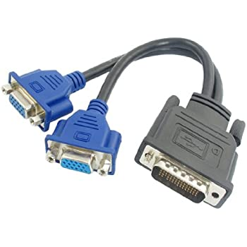 "uxcell® 5.3"" Long DMS-59 Pin to 2 Dual VGA 15Pin Female Splitter Adapter Cable"