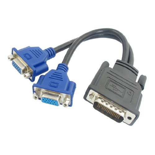 uxcell® 5.3 Long DMS-59 Pin to 2 Dual VGA 15Pin Female Splitter Adapter Cable