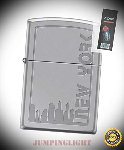 (2117 New York City Skyline High Polish Chrome Lighter with Flint Pack - Premium Lighter Fluid (Comes Unfilled) - Made in USA!)