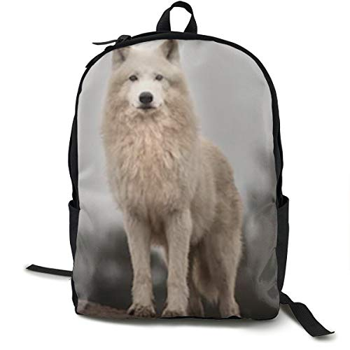 Arctic Print Canvas - Arctic Wolf 3D Print Backpack School Rucksacks Travel Backpack Multi-purpose Shoulder Bag Canvas Backpack