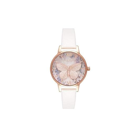 Olivia Burton Reloj Analógico para Mujer de Cuarzo con Correa en Cuero OB16GH07: Amazon.es: Relojes