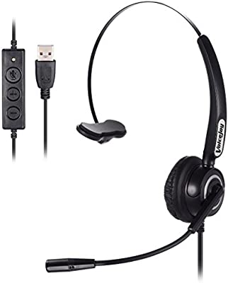 Call Center Noise Cancelling Corded Monaural Headset Headphone with Mic  Microphone with USB Plug for Computer and Laptop, Volume Control and Mute