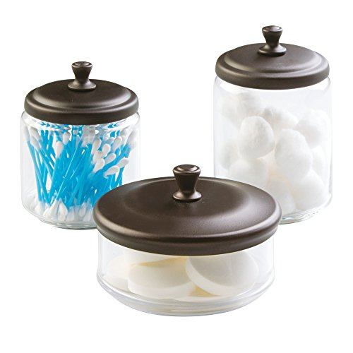 Interdesign york bathroom vanity glass apothecary jar for for Bathroom accessories kuwait