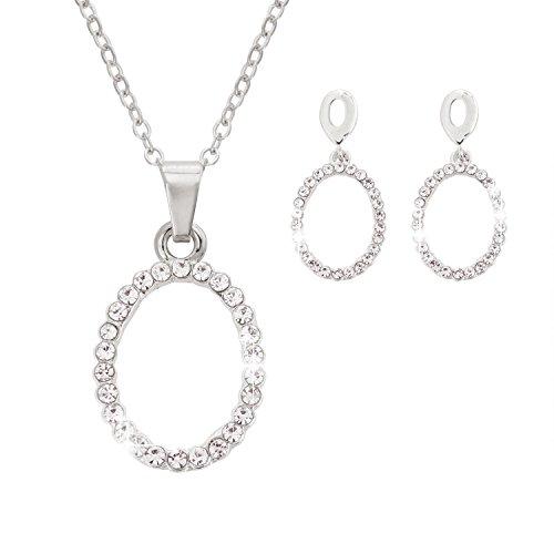 Jane Stone Fashion Silver Rhinestone Pendant Necklace Drop Dangle Earrings Crystal Oval Jewelry Set for Women (Silver Oval Drop Pendant)