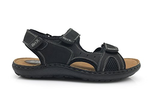 Enzo Romeo Ak9 Mens Dété En Cuir Sandales Universelles Plage Confort Décontracté Chaussures Noir