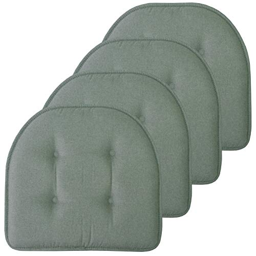 Sweet Home Collection Chair Cushion Memory Foam Pads Tufted Slip Non Skid Rubber Back U-Shaped 17″ x 16″ Seat Cover, 4 Pack, Scuba Green
