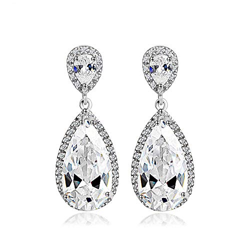 Julyflower Cubic Zirconia Teardrop Dangle Wedding Earrings Pierced or Clip-On Oval-Cut Framed Halos Bold Pear-Shaped for Wedding Prom Anniversary Party - Genuine Platinum Plated Bridal Jewelry 1pair