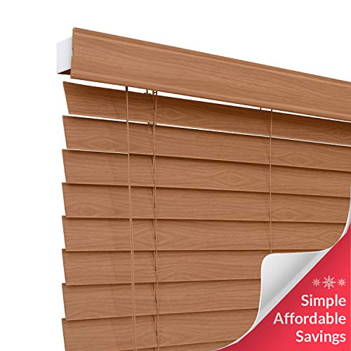 CHICOLOGY Custom-Made 2-inch Faux Wood Blind, Simply Brown,Horizontal Window Shade/Inside Mount, 30.5″ W X 60″ H