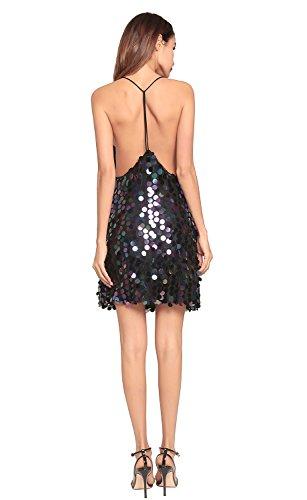 de mujer vestido lentejuelas FOLOBE la de noche de vestido Black fiesta wqWAttnX