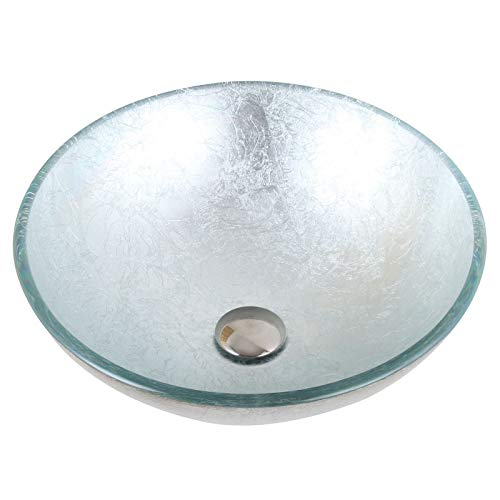 Hand Painted Foil Round Bowl Vessel Bathroom Sink Drain Finish: Chrome