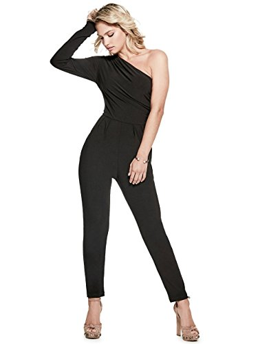 Guess Women's Long Sleeve One Shoulder Bobby Jumpsuit, Jet Black a, Small by GUESS