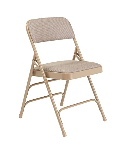 National Public Seating 2300 Series Steel Frame Upholstered Premium Fabric Seat and Back Folding Chair with Triple Brace, 480 lbs Capacity, Cafe Beige/Beige (Carton of 4) Triple Fabric
