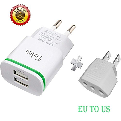 European Plug Adapter, Fudun Europe Travel Charger 2-Pack 2.1A/5V LED Dual USB Wall Charger Power Adapter, Bonus Euro to US Adapter for iPhone X 8/7/6/6S Plus 5S, iPad, Samsung Galaxy ()